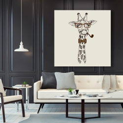 Canvas 48 x 48 - Funny giraffe with a pipe