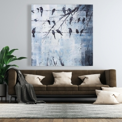 Canvas 48 x 48 - Abstract birds on electric wire