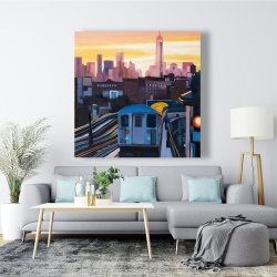 Canvas 48 x 48 - Sunset over the subway in new-york