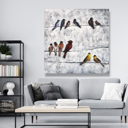 Canvas 48 x 48 - Colorful birds on branches