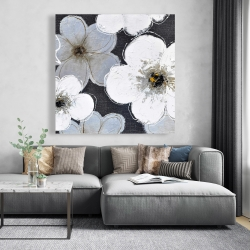 Canvas 48 x 48 - Gray flowers