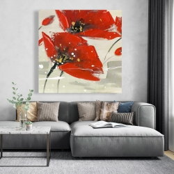 Canvas 48 x 48 - Abstract red flowers in the wind