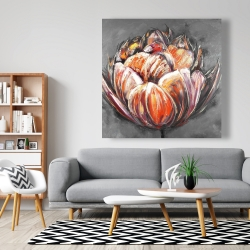 Canvas 48 x 48 - Double and abstract orange tulip