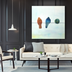 Canvas 48 x 48 - Perched abstract birds
