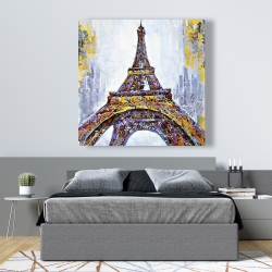Canvas 48 x 48 - Abstract paint splash eiffel tower