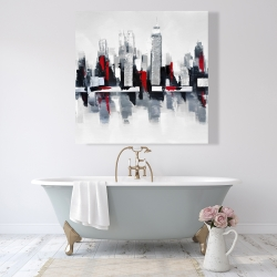 Canvas 48 x 48 - Gray and red cityscape