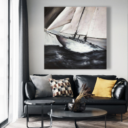 Canvas 48 x 48 - Boat in a violent storm