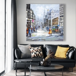 Canvas 48 x 48 - Busy street by a cloudy day