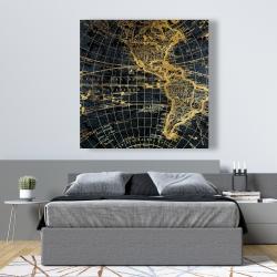 Canvas 48 x 48 - Blue and marine world map globe