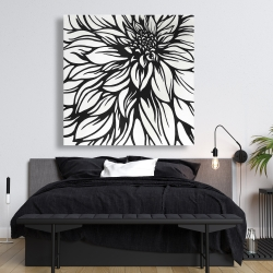Canvas 48 x 48 - Dahlia flower outline style