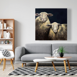 Canvas 48 x 48 - Two sheep blue background