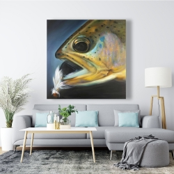 Canvas 48 x 48 - Golden trout with fly fishing flie
