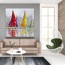 Canvas 48 x 48 - Sailboats in the wind