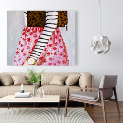 Canvas 48 x 60 - Fashionable woman with a leopard bag