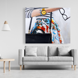 Canvas 48 x 60 - Fashionable woman with glasses