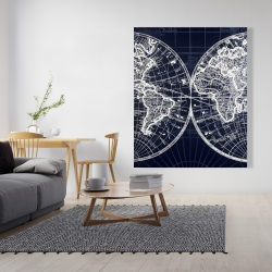 Canvas 48 x 60 - World map blue print
