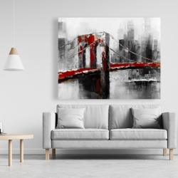 Canvas 48 x 60 - Abstract and red brooklyn bridge