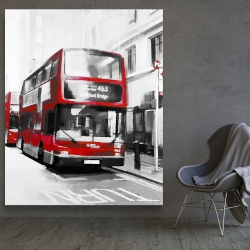 Canvas 48 x 60 - Red bus in a gray street