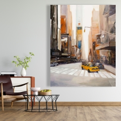 Canvas 48 x 60 - Calm street with taxi