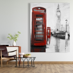 Canvas 48 x 60 - Red phonebooth with the big ben