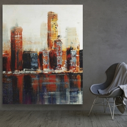 Canvas 48 x 60 - Abstract red cityscape