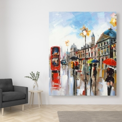 Canvas 48 x 60 - Colorful street with red bus
