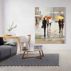 Canvas 48 x 60 - Abstract passersby with umbrellas