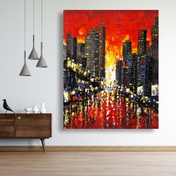 Canvas 48 x 60 - Abstract sunset on the city