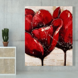 Canvas 48 x 60 - Red tulips closeup
