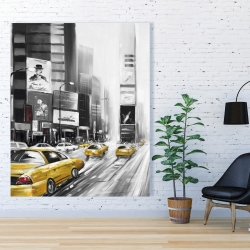 Canvas 48 x 60 - Times square and yellow taxis