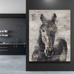 Canvas 48 x 60 - Abstract horse with typography