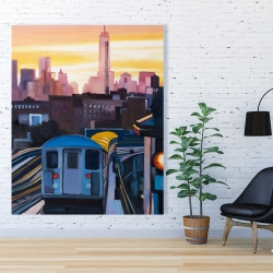 Canvas 48 x 60 - Sunset over the subway in new-york