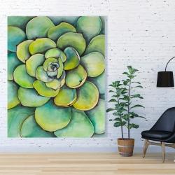Canvas 48 x 60 - Watercolor succulent plant
