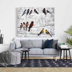 Canvas 48 x 60 - Colorful birds on branches