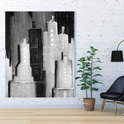 Canvas 48 x 60 - Abstract black and white cityscape