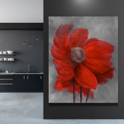 Canvas 48 x 60 - Red flower in the wind