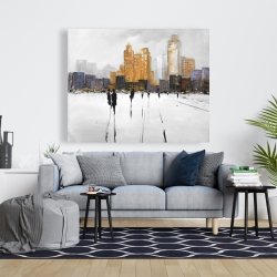 Canvas 48 x 60 - Silhouettes walking towards the city