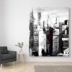 Canvas 48 x 60 - White city with paint splash
