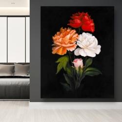 Canvas 48 x 60 - Three beautiful rose flowers