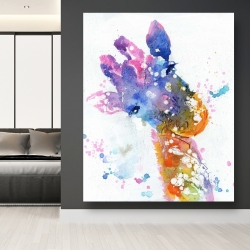Canvas 48 x 60 - Abstract giraffe with color splash