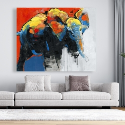 Canvas 48 x 60 - Colorful abstract moving elephant