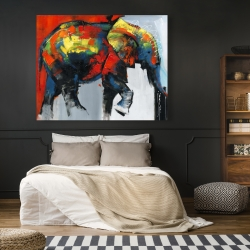 Canvas 48 x 60 - Abstract and colorful elephant in motion