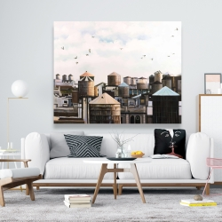 Canvas 48 x 60 - Water towers with birds