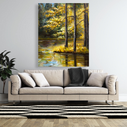 Canvas 48 x 60 - Fall landscape by the water