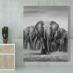 Canvas 48 x 60 - Herd of elephants