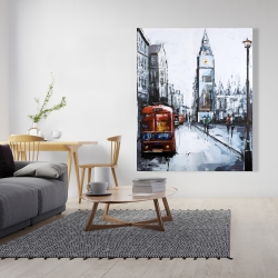 Canvas 48 x 60 - Abstract london and red bus