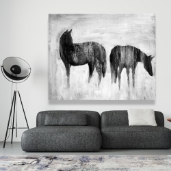 Canvas 48 x 60 - Horses silhouettes in the mist