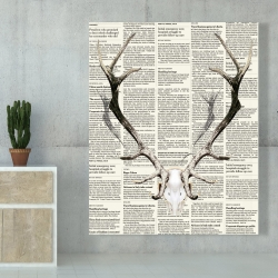 Canvas 48 x 60 - Deer horns on newspaper