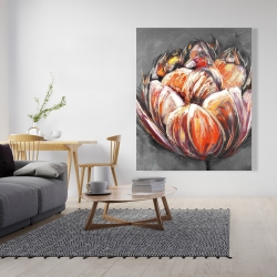 Canvas 48 x 60 - Double and abstract orange tulip