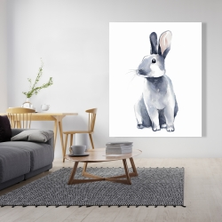 Canvas 48 x 60 - Gray curious rabbit